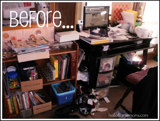 How i re organized my small homeschool room before and - How to organize your desk at home for school ...