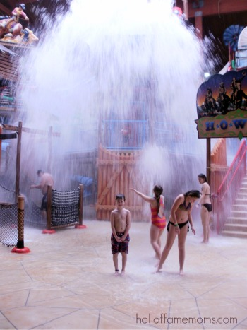 Getting dumped on at Fort Rapids Waterpark Resort in Columbus, Ohio.
