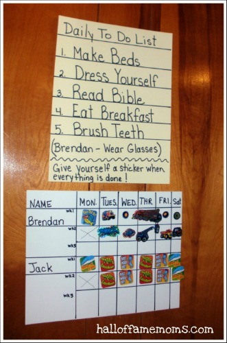 Sticker Chore Chart idea for kids.