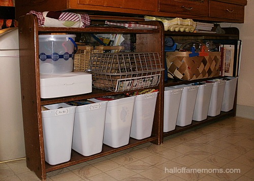 How I organized my kitchen shelves with $1 waste baskets.