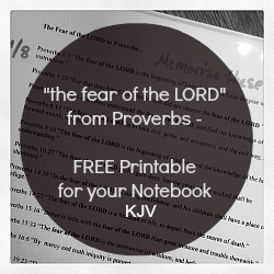"KJV free printable - Proverbs ""the fear of the LORD"""
