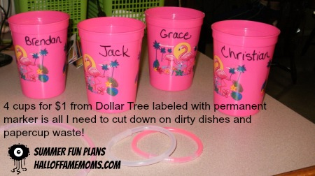 labeling cups with the kids names, Dollar Tree