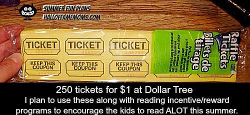 Tickets for reading program rewards / incentives.
