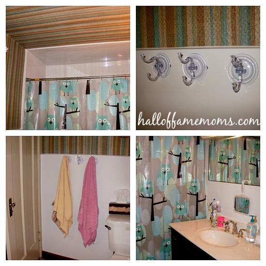 new house bathroom with owl shower curtain
