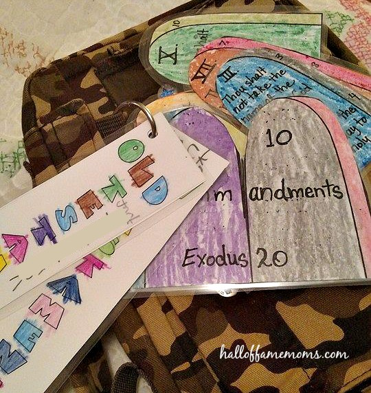 Books of the Bible and 10 Commandments key ring craft.