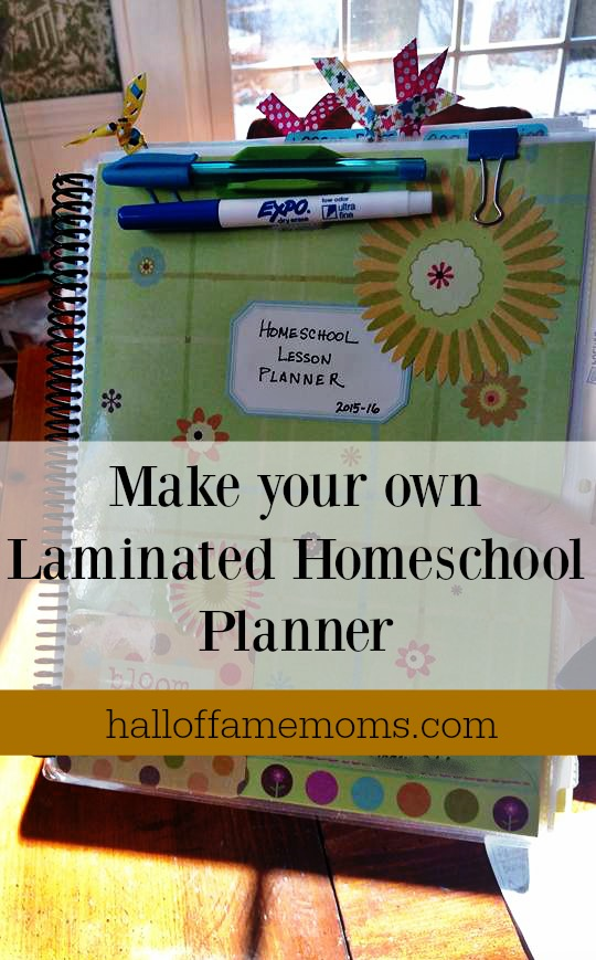 How to make your own laminated homeschool planner.