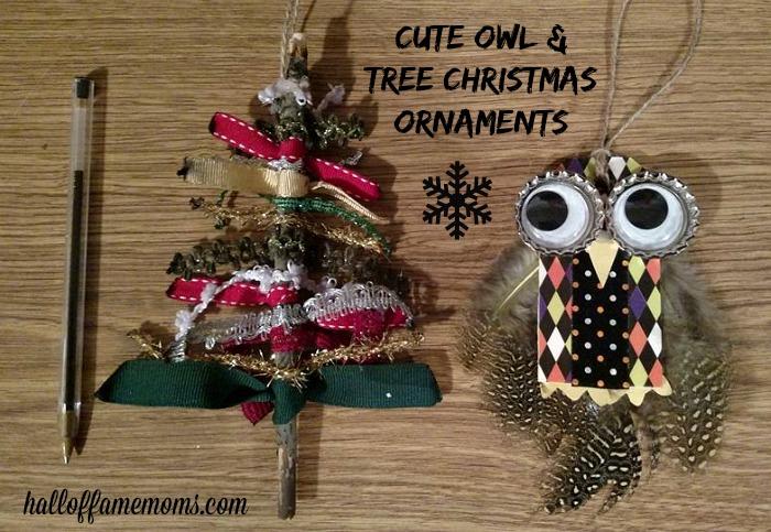 homemade owl and tree Christmas ornaments