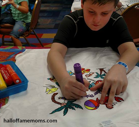 Coloring a shirt at Club Castaway, Castaway Bay