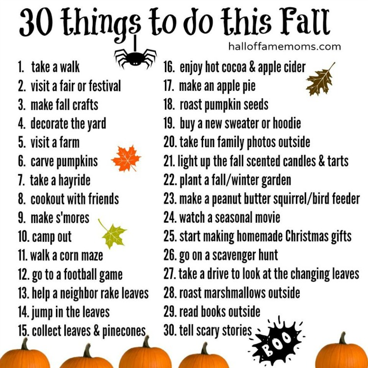 Free printable! 30 fun fall things to do - Create a Fall Bucket List