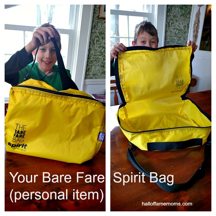 "Spirit Airlines The Bare Fare Bag ""personal item"" is included in your ticket price."