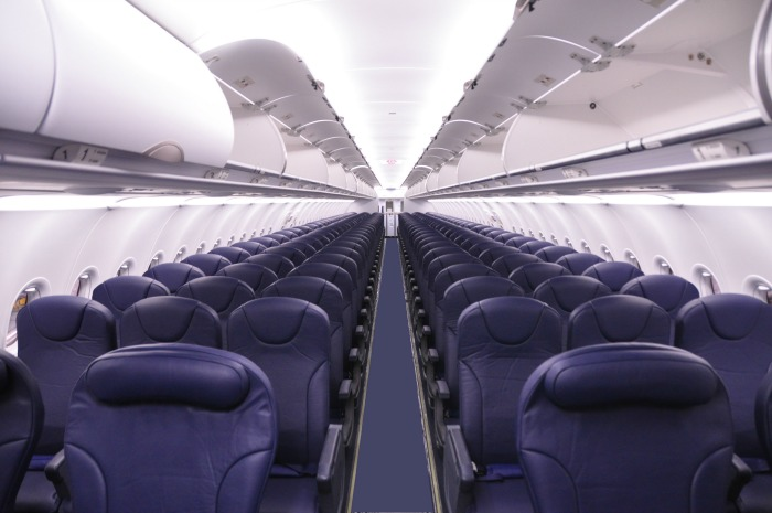 What the seating looks like inside a Spirit airplane.