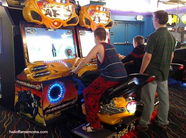 Playing in the arcade at Castaway Bay, Sandusky, Ohio.