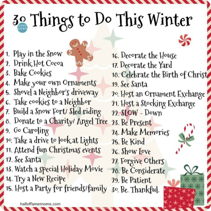 30 Things to do This Winter with the Family! FREE PRINTABLE