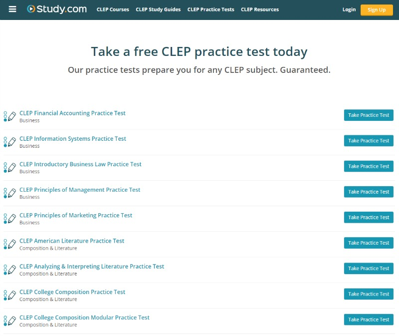 Take a free CLEP practice test today with Study.com - More info here.