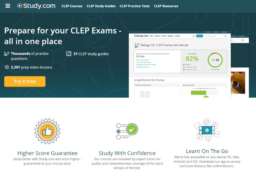 Prepare for the CLEP Exam with Study.com - More info here.