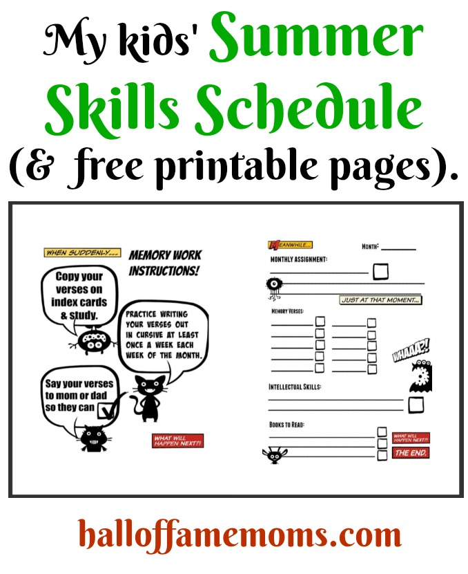 My kids' Summer Skills Schedule & FREE printables.