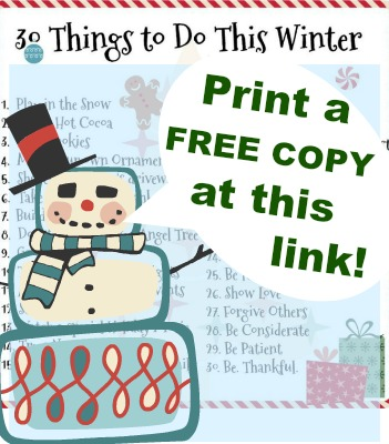 30 Family Fun things to do this Winter - free printable