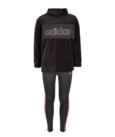 #AdidasAtMacys #Ad Big Girls Velour Funnel-Neck Sweatshirt & Climalite® Metallic Leggings