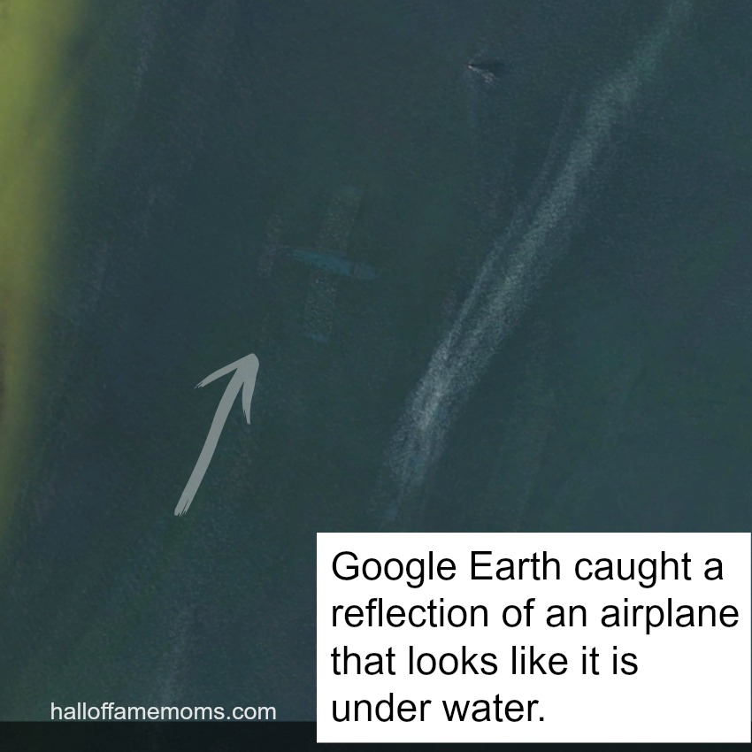 Google Earth caught the reflection of an airplane over the water.