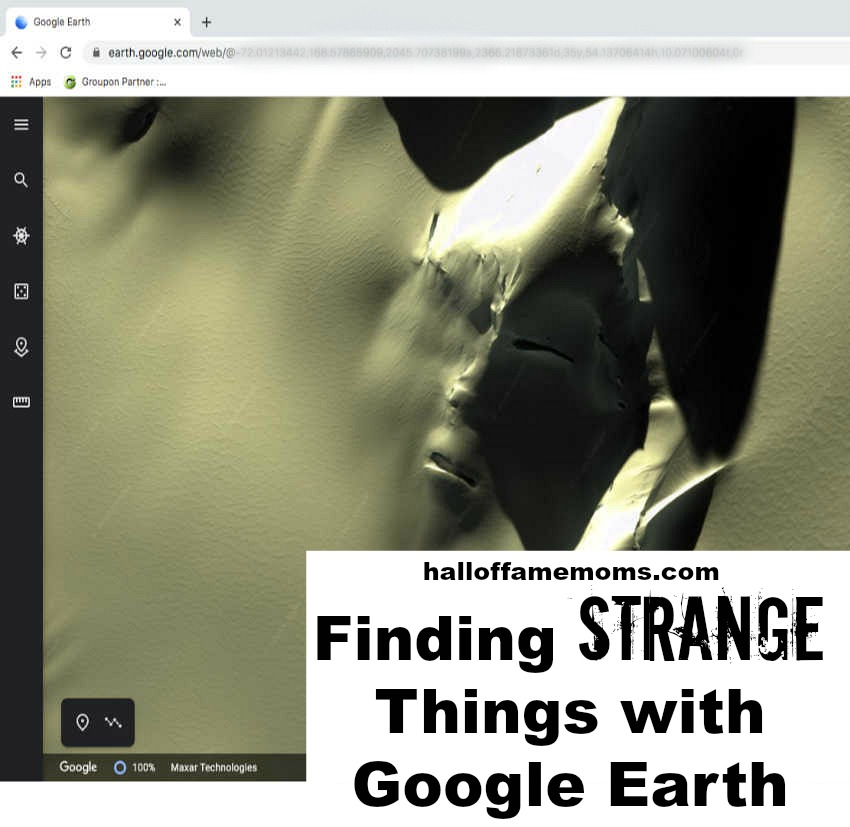 How to find the Antarctic Alien face on Google Earth. Halloffamemoms.com