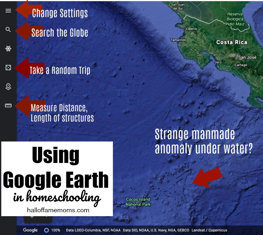 Learning to use Google Earth in Homeschooling. Finding STRANGE things with Google Earth. halloffamemoms.com