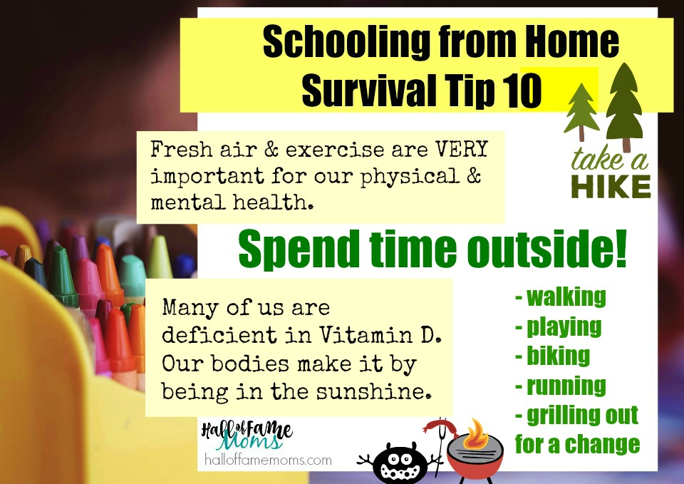 schooling from home tips - spend time outside