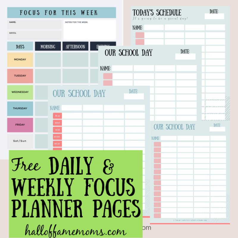 free daily weekly focus planner pages for goals or to structure the day